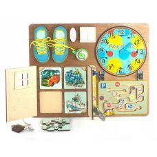 Развивающая доска № 1 для мальчиков BusyBoard (40-50 см, пазлы, шнуровка, магнитные часы, лабиринт)