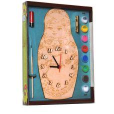 Часы с циферблатом под роспись: Матрешка (деревянные с красками)
