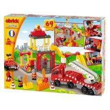 Пожарная станция + машина (конструктор пластмассовый, 69 пр)