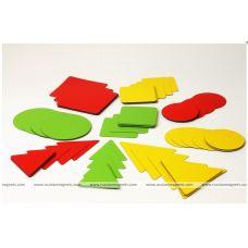 Геометрические фигуры: изучаем форму, цвет, размер (90 магнитных карточек, 3 цвета)